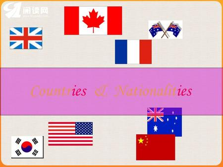 Countries & Nationalities. Australia- National flag Australian.