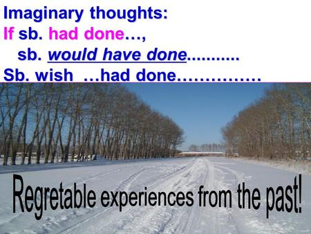 Imaginary thoughts: If sb. had done…, sb. would have done........... sb. would have done........... Sb. wish …had done……………