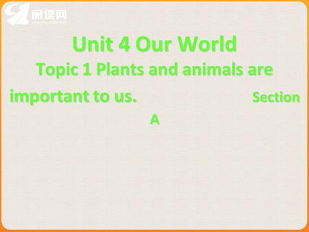 Unit 4 Our World Topic 1 Plants and animals are important to us. Section A.