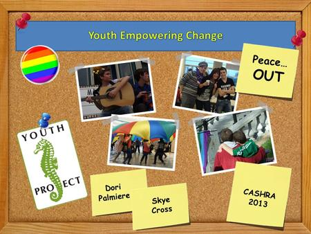 CASHRA 2013 Dori Palmiere Peace… OUT Skye Cross. 1.About The Youth Project 2.Empowering Youth Since 1993 3.Engaging Youth- Why it works! 4.Some Stats.