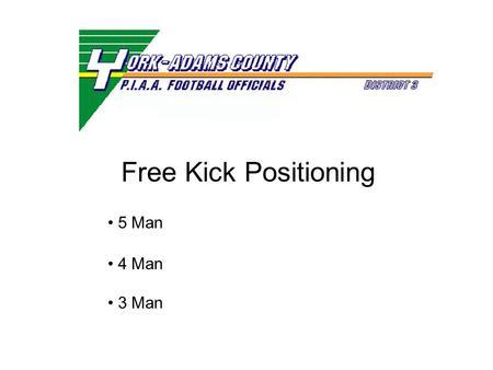 Free Kick Positioning 5 Man 4 Man 3 Man. Free Kick Positioning 5 Man PIAA Mechanics.