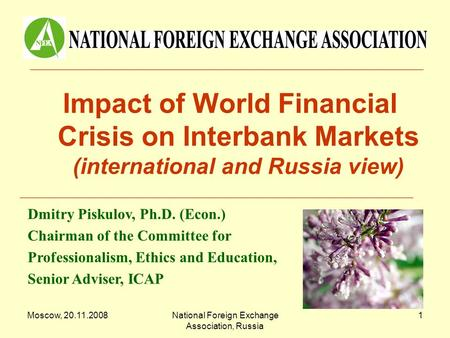Moscow, 20.11.2008National Foreign Exchange Association, Russia 1 Impact of World Financial Crisis on Interbank Markets (international and Russia view)