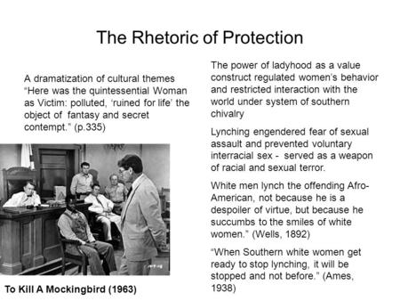 The Rhetoric of Protection A dramatization of cultural themes Here was the quintessential Woman as Victim: polluted, ruined for life the object of fantasy.