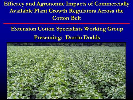 Efficacy and Agronomic Impacts of Commercially Available Plant Growth Regulators Across the Cotton Belt Extension Cotton Specialists Working Group Presenting: