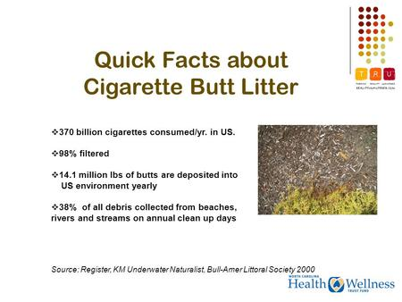 Quick Facts about Cigarette Butt Litter 370 billion cigarettes consumed/yr. in US. 98% filtered 14.1 million lbs of butts are deposited into US environment.