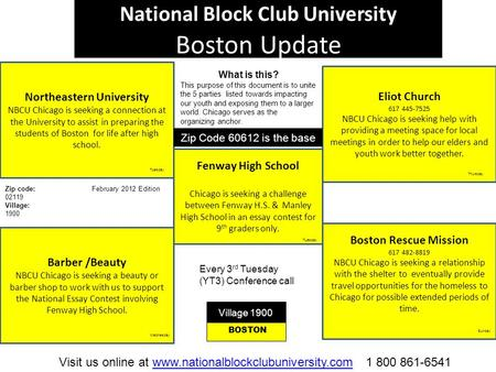 National Block Club University Boston Update Northeastern University NBCU Chicago is seeking a connection at the University to assist in preparing the.