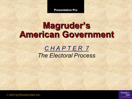 Presentation Pro © 2001 by Prentice Hall, Inc. Magruders American Government C H A P T E R 7 The Electoral Process.