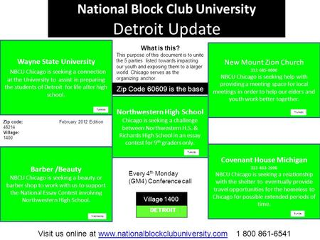 National Block Club University Detroit Update Wayne State University NBCU Chicago is seeking a connection at the University to assist in preparing the.