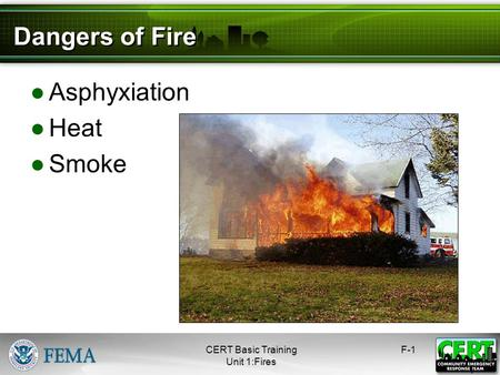 Fire CERT Basic Training Hazards. Dangers of Fire Asphyxiation Heat Smoke F-1 1 CERT Basic Training Unit 1:Fires.