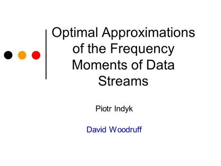 Optimal Approximations of the Frequency Moments of Data Streams Piotr Indyk David Woodruff.