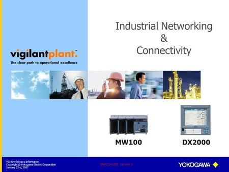 YS1000 Release Information Copyright © Yokogawa Electric Corporation January 23rd, 2007 INetConn201 Version 1 Industrial Networking & Connectivity MW100DX2000.