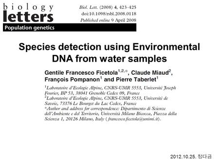 Species detection using Environmental DNA from water samples 2012.10.25.