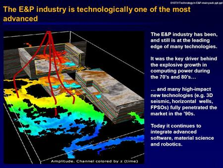 July 2001 McKinsey Research Project A new regime for innovation and technology management in the E&P industry.