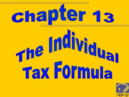 1. 2 THE INDIVIDUAL TAX FORMULA Corporate vs. individual tax model Filing status for individuals Overview of taxable income Alternative minimum tax Payment.