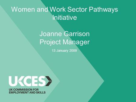 Women and Work Sector Pathways Initiative Joanne Garrison Project Manager 13 January 2009.