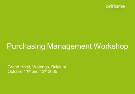 Purchasing Management Workshop