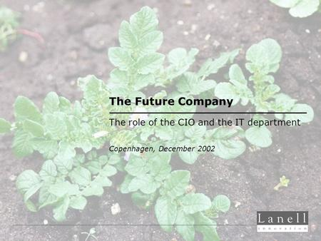 The Future Company The role of the CIO and the IT department Copenhagen, December 2002.