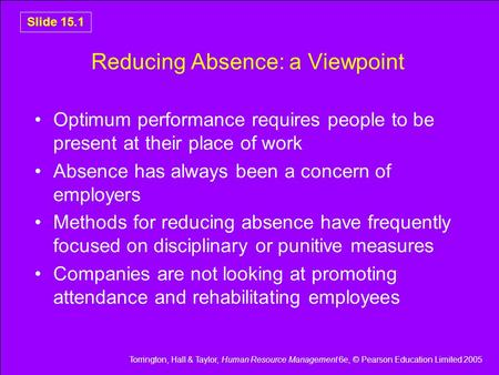 Torrington, Hall & Taylor, Human Resource Management 6e, © Pearson Education Limited 2005 Slide 15.1 Reducing Absence: a Viewpoint Optimum performance.