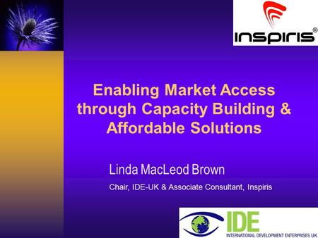 Careas Consultancy Enabling Market Access through Capacity Building & Affordable Solutions Linda MacLeod Brown Chair, IDE-UK & Associate Consultant, Inspiris.