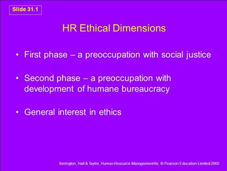 HR Ethical Dimensions First phase – a preoccupation with social justice Second phase – a preoccupation with development of humane bureaucracy General interest.
