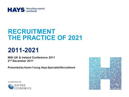 In partnership with RECRUITMENT THE PRACTICE OF 2021 2011-2021 MGI UK & Ireland Conference 2011 2 nd December 2011 Presented by Karen Young, Hays Specialist.