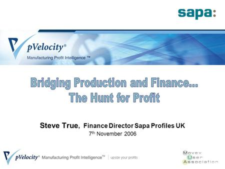 Steve True, Finance Director Sapa Profiles UK 7 th November 2006.