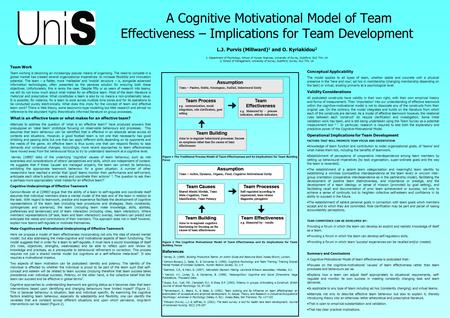 A Cognitive Motivational Model of Team Effectiveness – Implications for Team Development L.J. Purvis (Millward) 1 and O. Kyriakidou 2 1: Department of.