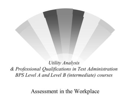 Utility Analysis & Professional Qualifications in Test Administration BPS Level A and Level B (intermediate) courses Assessment in the Workplace.