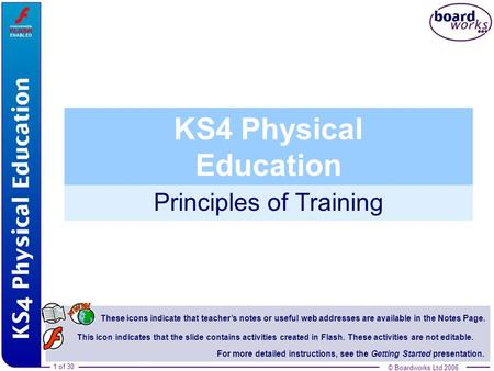 © Boardworks Ltd 20061 of 30 Principles of Training © Boardworks Ltd 2006 1 of 30 These icons indicate that teachers notes or useful web addresses are.