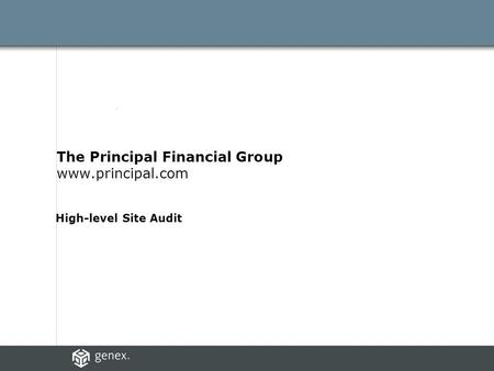 The Principal Financial Group www.principal.com High-level Site Audit.