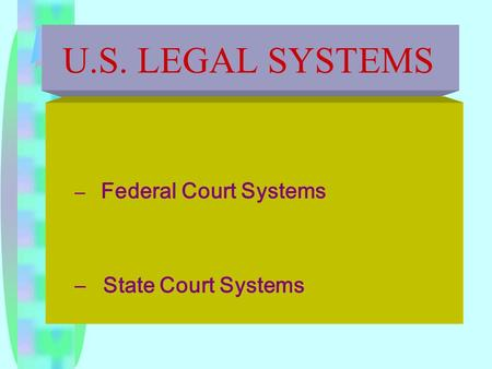 U.S. LEGAL SYSTEMS – Federal Court Systems – State Court Systems.