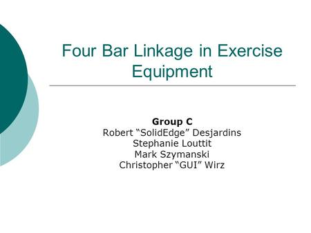 Four Bar Linkage in Exercise Equipment