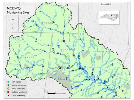NCDWQ Monitoring Sites January 2011. DWQ Monitoring in Upper Neuse Generally part of overall statewide assessment Fish tissue Macroinvertebrates Fish.