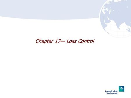 Chapter 17 Loss Control. 17–2 Chapter 17 Lesson Goal After completing this lesson, the student shall be able to perform loss control operations.