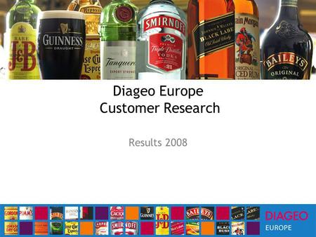 Diageo Europe Customer Research Results 2008. Executive Summary RD is seen as a business priority and reputation enhancing activity for most Majority.