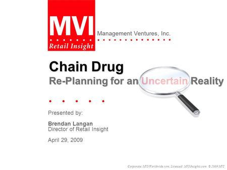 Management Ventures, Inc. Corporate: MVI-Worldwide.com, Licensed: MVI-Insights.com © 2009 MVI Presented by: Brendan Langan Director of Retail Insight April.