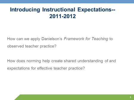 Introducing Instructional Expectations