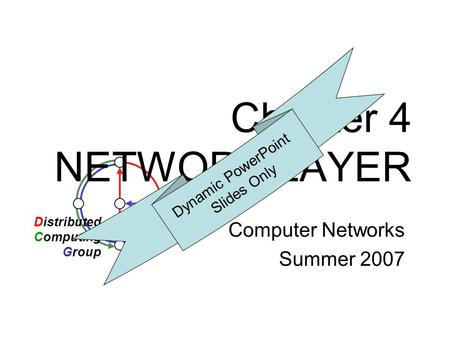Chapter 4 NETWORK LAYER Computer Networks Summer 2007 Distributed Computing Group Dynamic PowerPoint Slides Only.