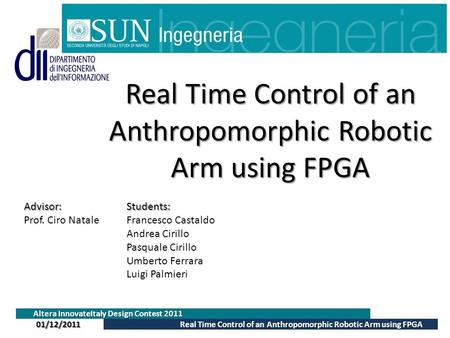 Real Time Control of an Anthropomorphic Robotic Arm using FPGA Altera InnovateItaly Design Contest 2011 Real Time Control of an Anthropomorphic Robotic.