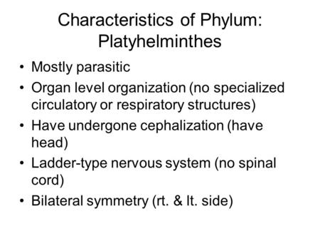 Characteristics of Phylum: Platyhelminthes Mostly parasitic Organ level organization (no specialized circulatory or respiratory structures) Have undergone.