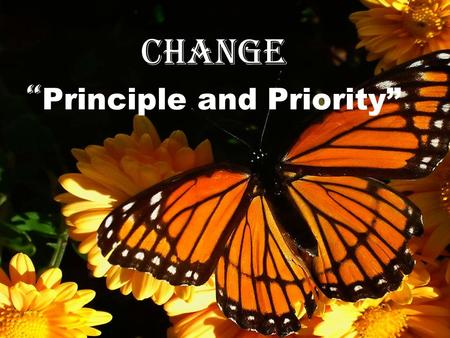 Change Principle and Priority. Practical Steps to Change 2 Peter 1:3-4 (NIV) His divine power has given us everything we need for life and godliness through.