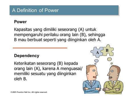 Organizational Behavior Power and Politics. © 2005 Prentice Hall Inc. All rights reserved. A Definition of Power A B Power Kapasitas yang dimiliki seseorang.