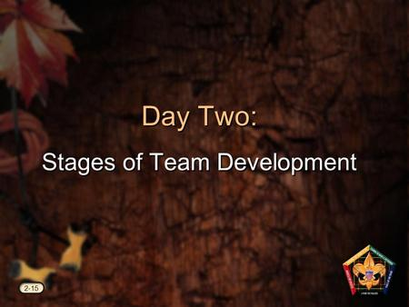 Day Two: Stages of Team Development 2-15. Videos #5 Models for Success Forming.