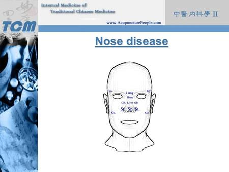 Nose disease. Etiology & Pathology 1.The door of breathing, also the gate of evil invasion 2.In charge of smelling 3.Relationship with 5 organs lung open.