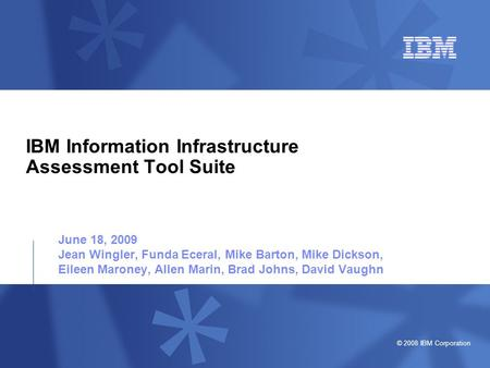 © 2008 IBM Corporation IBM Information Infrastructure Assessment Tool Suite June 18, 2009 Jean Wingler, Funda Eceral, Mike Barton, Mike Dickson, Eileen.
