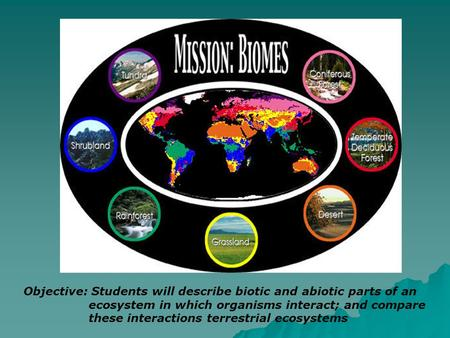 Objective: Students will describe biotic and abiotic parts of an ecosystem in which organisms interact; and compare these interactions terrestrial ecosystems.