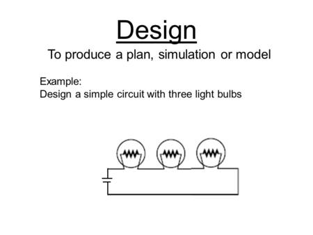 Design To produce a plan, simulation or model Example: Design a simple circuit with three light bulbs.