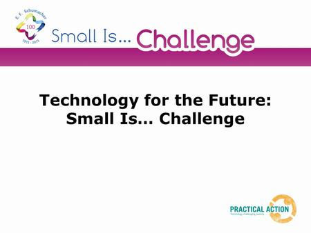 Technology for the Future: Small Is… Challenge. Starter activity In small groups, mind map as many new inventions/products that you can think of from.