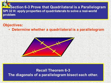 Recall Theorem 6-3 The diagonals of a parallelogram bisect each other.