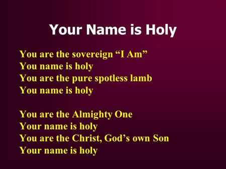 Your Name is Holy You are the sovereign I Am You name is holy You are the pure spotless lamb You name is holy You are the Almighty One Your name is holy.